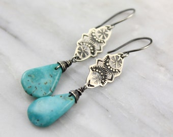 Exotic Stamped Silver Turquoise Teardrop Earrings Oxidized Silver