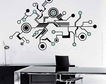 Wall decals LARGE TECH SHAPES Abstract circuit shaped vinyl art stickers interior decor (40x64 inches)
