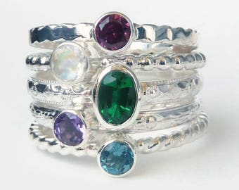 Mothers Ring - 5 Birthstone Stacking Rings w/ 6x4 mm Oval Gemstone -  Family Ring - Stackable Rings - Birthstone Rings - Sterling Silver
