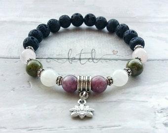 Fertility bracelet- fertility aide- fertility gemstones- healing jewelry-  fertility gift- invitro- trying to concieve- diffuser bracelet-