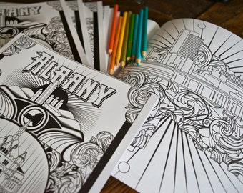 Albany NY Coloring Book • Adult Coloring Book • Albany New York • Empire State Plaza • Washington Park • Hudson River • NY Capital Paperback