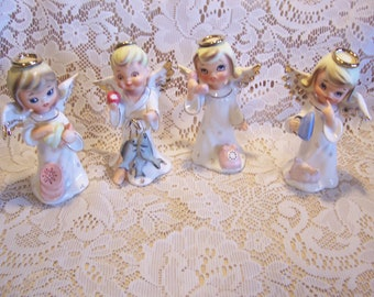 Four Rare HTF Assorted Napco Angel Figurines, Japan