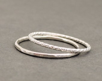 Sterling Silver Rings diamond cut textured ring and hammered ring 2 thumb rings stacking ring Sparkle Rings Stackable Rings