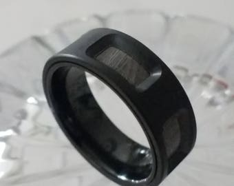 DRACO Meteorite & Zirconium Wedding Band with Alternating Inlays | 8mm
