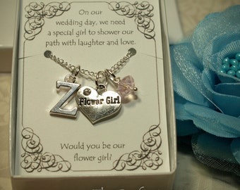 Personalized Flower Girl Necklace with Birthstone and Initial -- FG02 -- Flower Girl Necklace -- Flower Girl Gift -- Initial Necklace