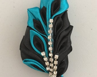 Blue and Black  Kanzashi Flower Brooch.5