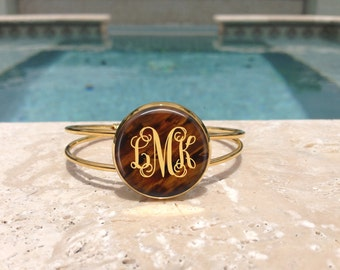 Faux Tortoise Personalized Monogram Bangle Cuff Adjustable Bracelet, Gold Plated, Bridesmaid Gifts, Gifts for Her,Accessories,Jewelry