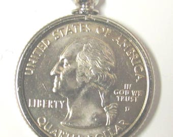 Coin Bezel - Jewelry Findings Pendant Charm Coin Holder - Coin  Bezel - 24k Platinum PLATED   U.S. Quarters