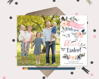 Easter Card · Pink Roses Blessed Easter Photo Card · Pink & Blue · Custom Colors