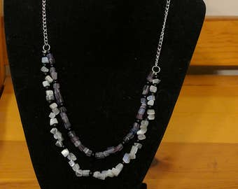 Purple and Gray Cat's Eye Double Strand Necklace