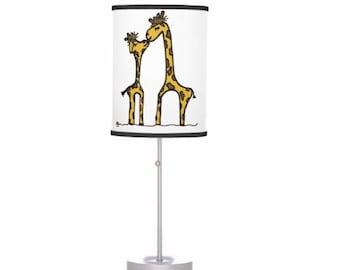 Giraffe lamp made to order nursery lamp kissing giraffes baby and mommy