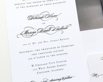 Simple Wedding Invitation Minimalist Wedding Invitation Classic Calligraphy Wedding Invitation Timeless Wedding Invitation Black Tie