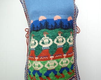 VINTAGE Poncho Knit Sweater Open Sides Retro People Landscape Pattern Medium