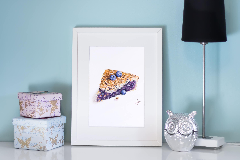 Blueberry Pie Art Print Blueberry Pie Food Art Wall Decor