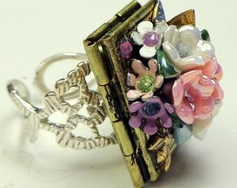 Flower Garden Locket Ring, Swarovski Crystals, Butterfly & Honey Bee Locket Ring,Photo Jewelry, Victorain Style,Vintage Stampings, OOAK