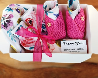 Floral Baby Shower Gifts Newborn Baby Girl Gift Set Organic Cotton