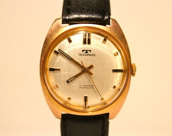 Stunning Technos Pink Gold Plated Vintage Watch