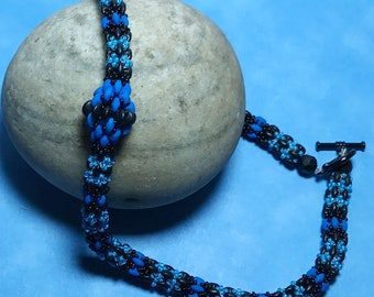 SuperDuo Necklace Bead Woven Necklace Beaded Rope Necklace Beadwork Necklace Seed Bead Necklace Black Bead Necklace Blue Beaded Necklace