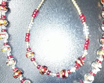 Beautiful Jewelrey set with red, gold and crystal beading