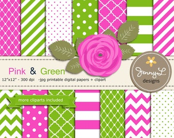 Pink and Green Digital Paper,  Fuchsia and Lime Rose Flower Clipart for Wedding, Bridal Baby Shower, Birthday, Digital Scrapbooking, Invites