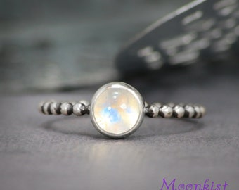 Birthstone Stacking Ring - Sterling Silver Ring - Silver Moonstone Ring - Rainbow Moonstone Stacking Ring - June Birthstone Ring - Size 6