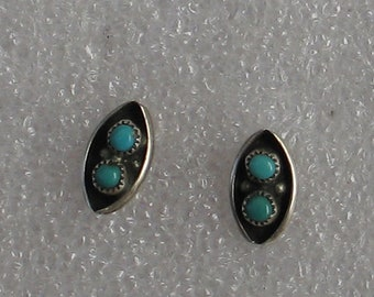 Vintage Sterling  Turquoise Post  Earrings 10mm