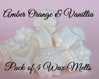 Wax Melts, Wax tarts, Pack of 4 Amber Orange & Vanillia wax melts
