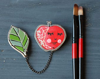 Red apple and green leaf brooch gifts for her apple pin womens gift food brooch pin quirky gift best friend gift fruit jewelry hand painted