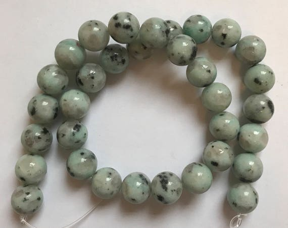 "1 Strand of Jasper Beads, 15"", about 33 Pieces, Sesame, Light Blue and Black, Treated Gemstone, Large Size, 12mm, Round Shape, G2"