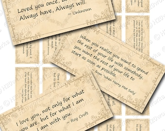 Love Quotes Digital Rectangles on 8.5x11 Sheet (20 Different Quotes in Soft Pinks OR Neutral) WEDDING, VALENTINES