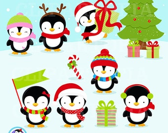 Christmas Penguin Clipart / Penguin digital clipart / Penguin Clip art for personal and commercial Use