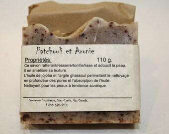 Savon Patchouli et Aronie, Savon artisanal fait main 100% naturel,Cold process Natural Handmade Soap, Patchouli, produit naturel, savonnette
