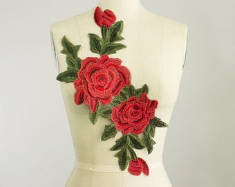 NEW ITEM! Extra Large Vintage Red Roses Large Sew On Patch Applique / 3-D Petals / Back Piece / Embroidered Patch / Gucci Style
