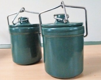 Small green pottery crocks with lids, Vintage