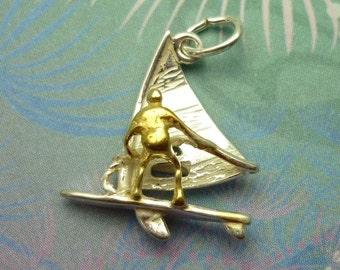 Vintage Sterling Silver Charm - Wind Surfer Gold & Silver