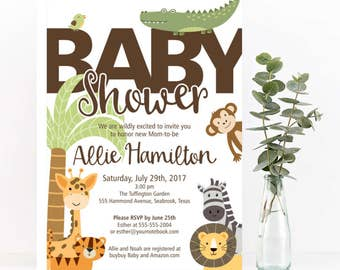 Safari Baby Shower Invitation, jungle baby shower invitation, giraffe baby shower, safari invitation baby animal shower,  gender neutral
