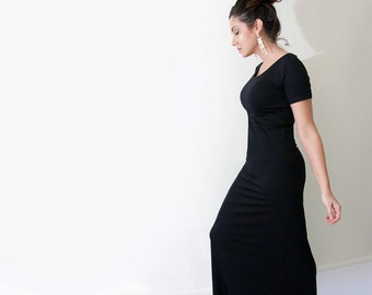 Maxi Dress | Short Sleeve Dresses | Women's Tall or Petite Long Length | Ethically made in our USA loft | L415 & Co Clothing (#415-657)