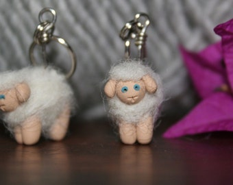 Woolly Sheep Polymer Clay Stitch Markers (blonde flock of 4 miniature sculpted felted knit crochet accessories)