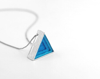 Resin Triangle Necklace-Sterling Silver Triangle Charm Pendant-Simple Dainty Jewelry-Freely Wear-Minimalist Geometric Jewelry-Gift for her