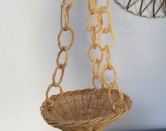Smaller Wicker Hanging Basket, Rattan Basket