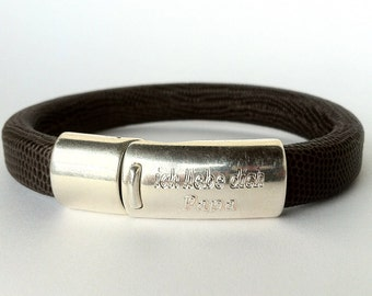 Daddys Personalized Bracelet,  Fathers Day, Mens Bracelet, leather bracelet for men,  Personalized fater day,  silver plated customized