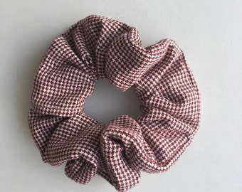 Purple and White Gingham Scrunchie