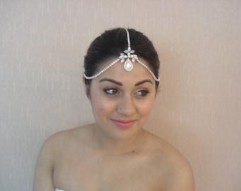 Bridal Rhinestone Chain Headband, Crystal Teardrop,  Swarovski Pearls, Silver or Gold Tone, Adjustable, Clasps on the Back - Chloe