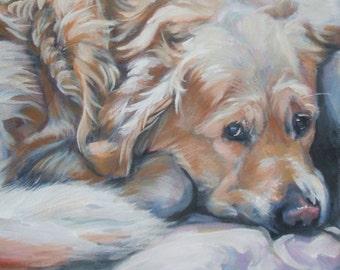 Golden Retriever dog art CANVAS print of LA Shepard painting 12x12 portrait
