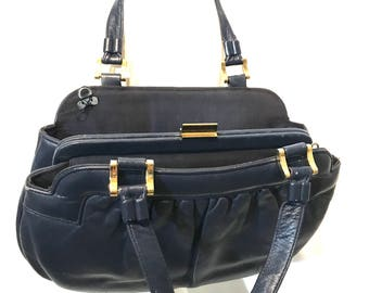Blue Leather Hand Clutch Hand Bag