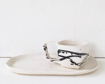 Ceramic Tea Cup or Coffee Mug / Modern Geometric Angular Shape / Black and White Mug / The Samara Tea Cup / READY TO SHIP