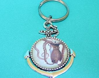 Pieuvre ancre collier clé - pendentif Cabochon en verre - vous choisissez collier ou porte-clés