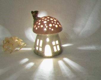 Night Light/ Fairy House -Pink Roof, Mushroom with Starry Sky - Hand Painted - Wheel -thrown - True One of a Kind