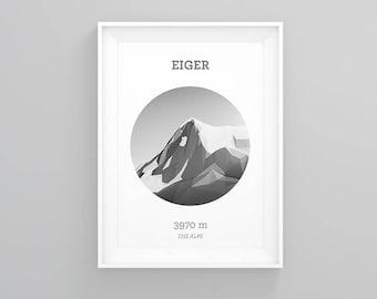 Eiger, Switzerland [Monochrome Edition]  (Mountain Art Print, Mountain Poster / Swiss Mountains, Gift, Alps)