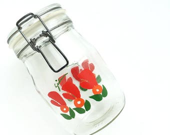 Vintage Flower Print Ermetico One Liter Glass Canister Canning Jar by Carlton Glass Food Kitchen Storage Made in USA